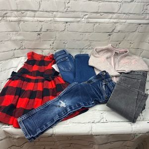 2T girls pack 5 pieces, one NWT dress. 3 jeans